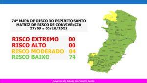 Quatro municípios capixabas estão em risco moderado para Covid a partir desta segunda (27)